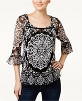 INC International Concepts Petite Printed Ruffled Peasant Top, Only at Macy's