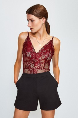 Karen Millen Strappy V-Neck Lace Body