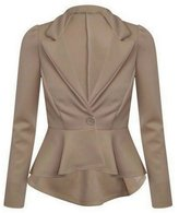 Xclusive Plus New Womens Plus Size Long Sleeve Waist Frill Button Blazer Peplum Jacket (22, )
