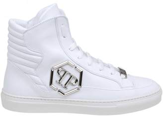Philipp Plein Sneakers Hi-top Statement In White Color Leather