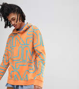 Puma Pullover Hoodie With All Over Print In Orange Exclusive To ASOS