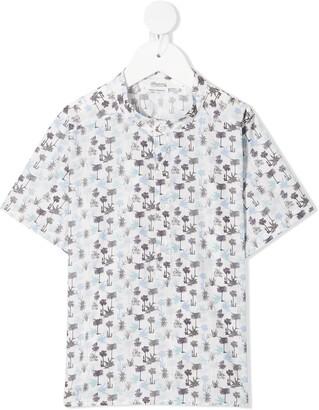 Bonpoint Tree-Print Collarless Shirt