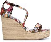 Tabitha Simmons 'Jenny' wedge sandals - women - Cotton/Straw/rubber - 39