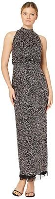 Adrianna Papell Beaded Halter Blouson Gown (Black Multi) Women's Dress