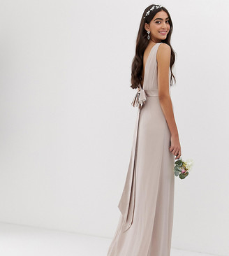 TFNC Tall Bridesmaid exclusive bow back maxi in mink