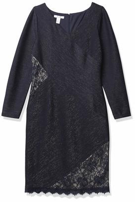 London Times Women's Long Sleeve V Neck Sheath Dress