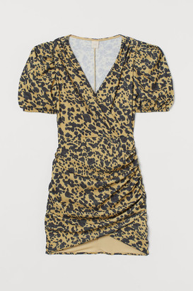 H&M Puff-sleeved Wrap Dress - Yellow