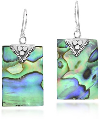Aeravida Handmade Tropical Chic Rectangle Cut Abalone Shell & Sterling Silver Dangle Earrings