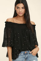 LuLu*s Like You A Lot Black Studded Off-the-Shoulder Top