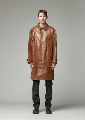 Raf Simons Men's Leather Car Coat in Brown Size 48 100% Baby Calfskin Leather