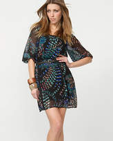 Le Château Chiffon Feather Print Belted Tunic