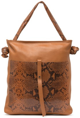 Persaman New York Snake Embossed Leather Shoulder Bag