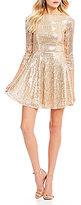 Jodi Kristopher Sequin-Embellished Fit-And-Flare Dress