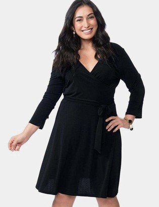 Leota Perfect Wrap Dress in Black Crepe Size 2L Polyester