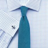 Charles Tyrwhitt Classic Fit Twill Check Sky Blue Cotton Dress Shirt French Cuff Size 15.5/37