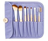 Danielle Creations Natural Bamboo 7-Piece Brush Set with Roll Up Canvas Case, Lavender