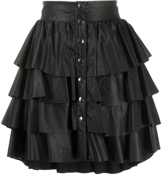 Soallure Faux-Leather Tiered Skirt