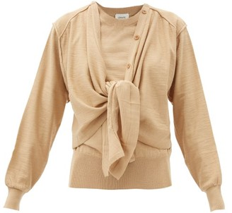Lemaire Knot-front Merino Wool-blend Cardigan - Beige