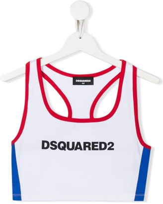 DSQUARED2 TEEN logo print cropped top