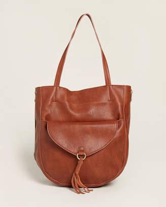 Street Level Brown Tassel Flap Pocket Tote