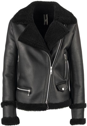 Hogan Biker In Sheepskin Black Jacket