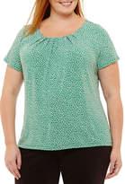Liz Claiborne Short Sleeve Pleat Neck Top- Plus