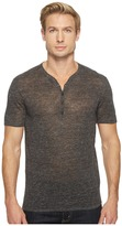 John Varvatos Heathered Short Sleeve Drop Neck Henley Sweater Y1517T1L