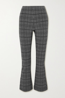 Leset Stili Cropped Princes Of Wales Checked Woven Flared Pants - Gray