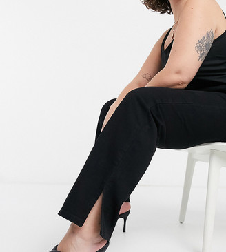 In The Style Plus x Shaughna high-waist flared jeans with side splits in black