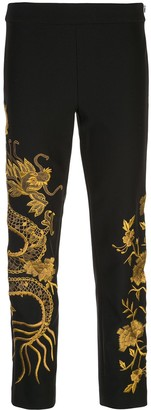 Josie Natori Embroidered Dragon Trousers
