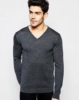 Selected Homme Knitted V-neck Neck Jumper In Merino Wool
