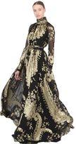 Ungaro Silk Blend Jacquard Fil Coupe Gown