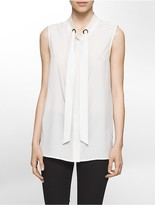 Calvin Klein Tie-Neck Crepe Sleeveless Shell