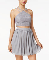Speechless Juniors' 2-Pc. Glitter Lace Crop Top and Skirt