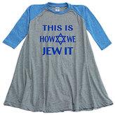 Urban Smalls Blue & Gray 'How We Jew It' Raglan Dress - Toddler & Girls