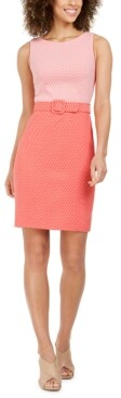 Calvin Klein Two-Tone Belted Sheath Dress
