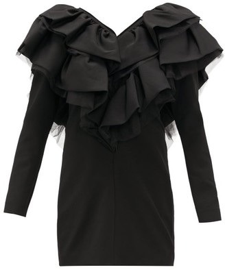 Osman Virginia Ruffled V-neckline Crepe Mini Dress - Black