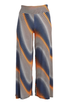 Glam Blue & Orange Abstract Palazzo Pants - Plus