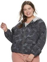 UNIONBAY Juniors' Plus Size Hooded Camo Jacket