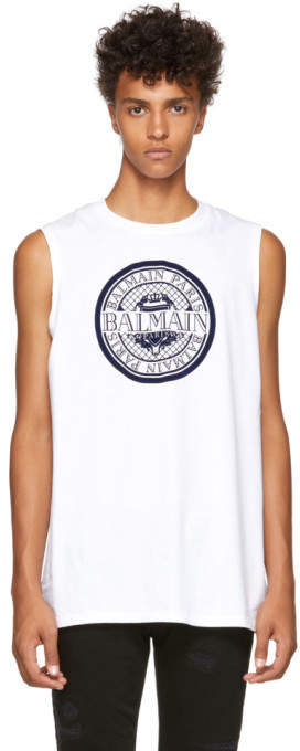 Balmain White Imprime Monnaie Tank Top