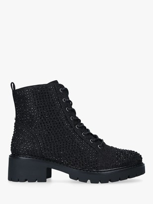Carvela Shine Embellished Hiker Boots, Black