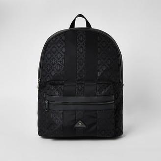River Island Black RIR monogram zip top backpack