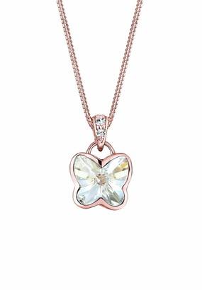 Elli Butterfly Swarovski Crystal 925 Sterling Silver Rose Gold Plated Necklace of Length 42cm