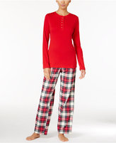 Lauren Ralph Lauren Henley Top and Brushed Twill Pants Pajama Set