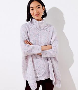 LOFT Petite Flecked Turtleneck Poncho Sweater
