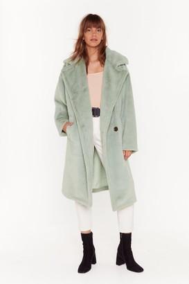 Nasty Gal Womens Back Fur Good Oversized Faux Fur Coat - brown - 8