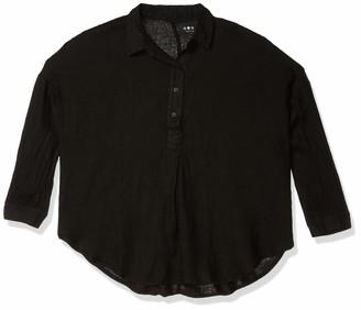 Three Dots Women's Light WT Linen Peasant Shirt