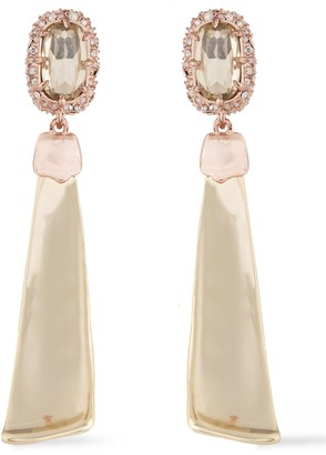 Alexis Bittar Rose And Gold-tone Swarovski Crystal Earrings