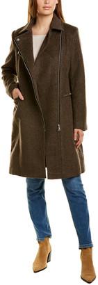 AVEC LES FILLES Wool-Blend Moto Coat