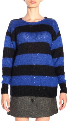Miu Miu Maxi Sweater In Mohair Wool With Rhinestones And Striped Bands
